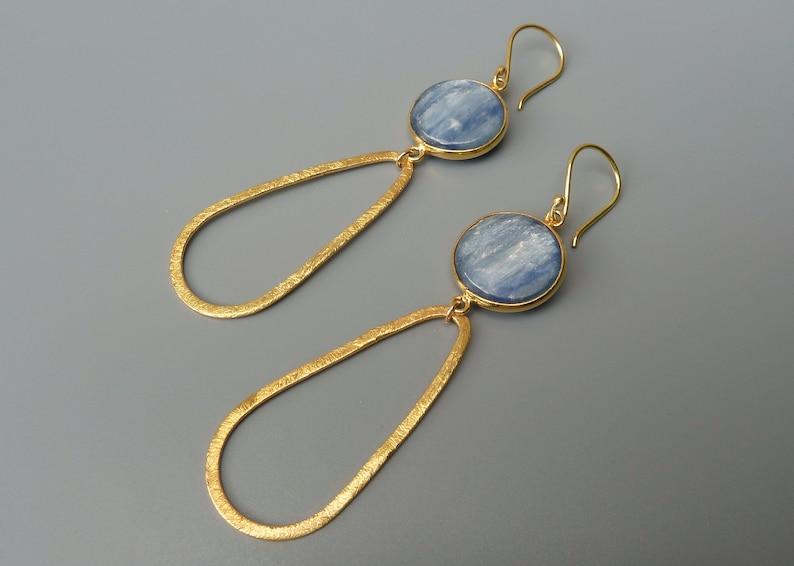 Blue Kyanite Earrings Long Dangle EarringsBlue And image 0