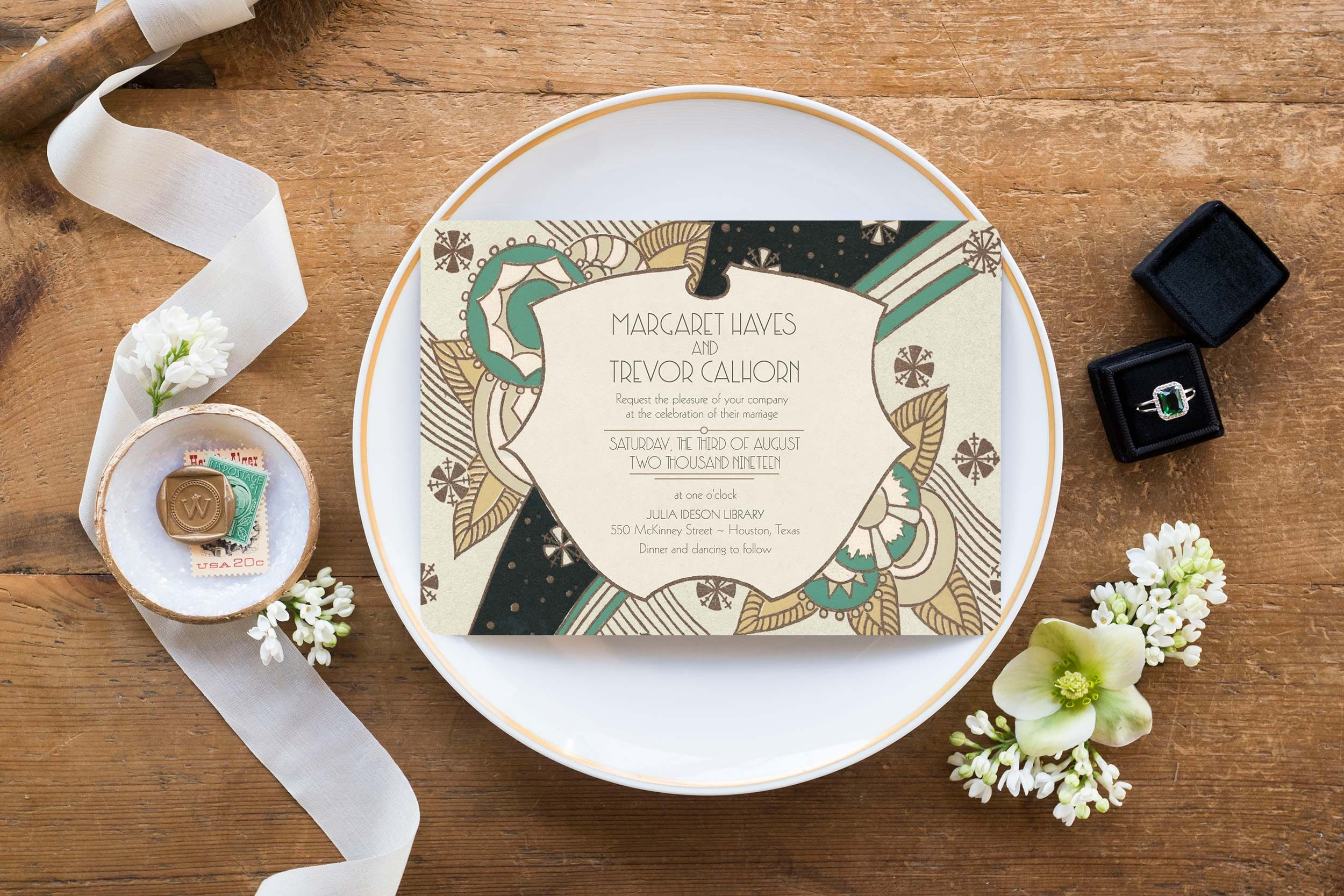 Deco Wedding Invitations: Art Deco Wedding Invitations 1920s Wedding Invitation