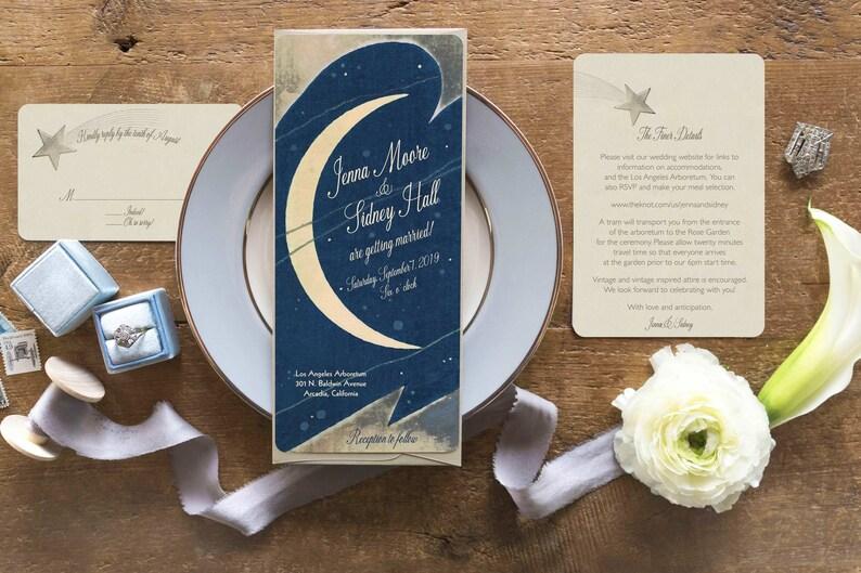 Moon Wedding Invitations Star Wedding Invitation Moon And Etsy