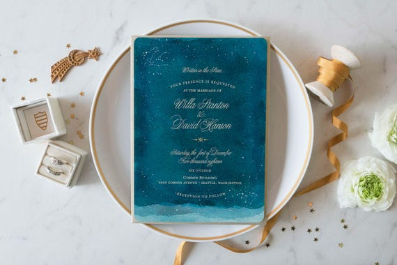 Constellation Wedding Invitations Starry Night Wedding Etsy