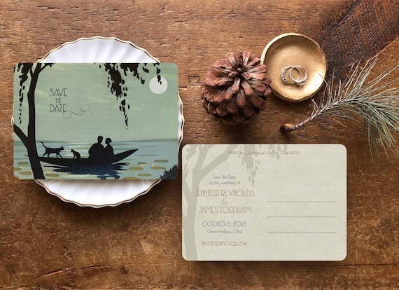 Lake Themed Wedding Invitations: Save The Date Postcard Beach Wedding Invitation Lake Wedding