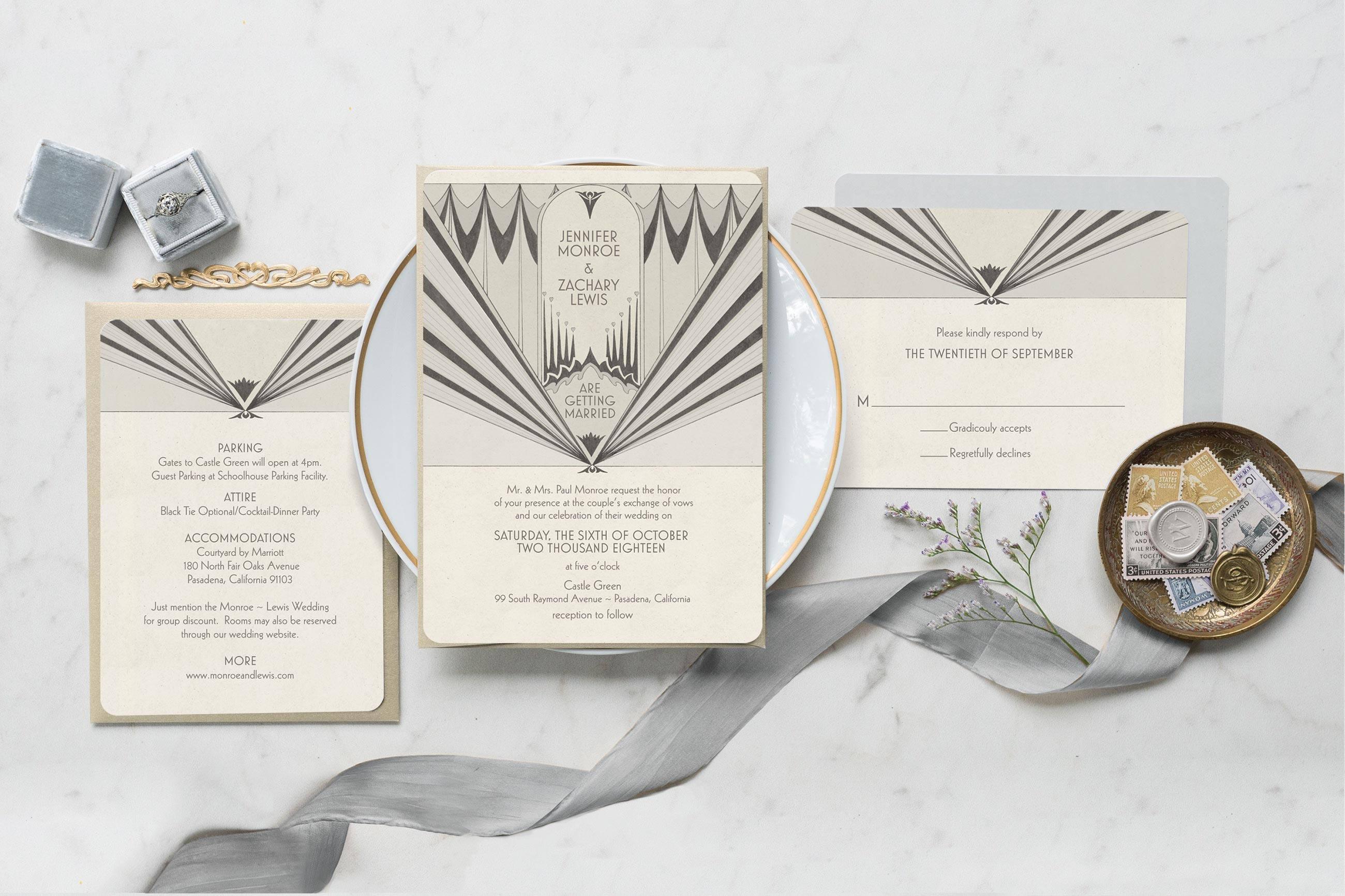 Deco Wedding Invitations: Art Deco Wedding Invitation Wedding Invitation Wedding