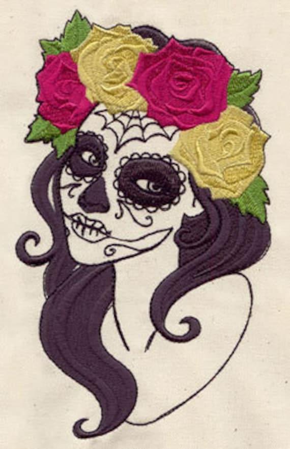 Sugar Skull Day Of The Dead Design Flour Sack Kitchen Towels 16x28  Set of 3
