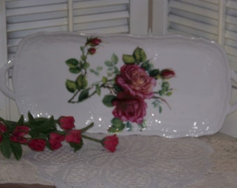 Godinger Embossed Rose Loaf Tray ~ Mauve Green Plum ~ Shabby Sweet
