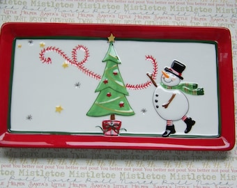 Fitz and Floyd Holiday Wish's Snowman Cookie Appetizer Tray