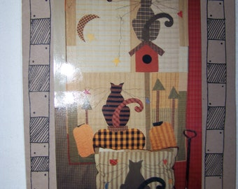 WHISKERS Cat Quilt Wall Hanging or Pillow Homespun Primitive Pattern