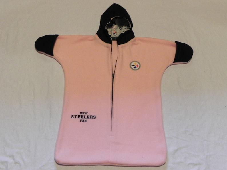 online store 86b9f 67dc5 NFL Girls PITTSBURGH STEELERS Pink fleece Baby Snuggy Bunting Coat Newborn  0 to 6 months Handmade