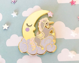 Unicorn and Moon Enamel Pin