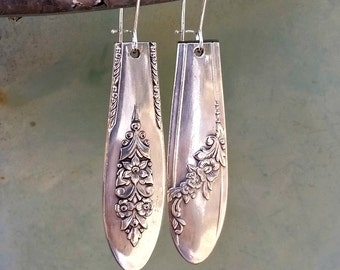 Silverware Earrings, Silver Earrings, Vintage Spoon Handle, OOAK Earrings, Upcycled Spoons, Silverware Jewelry, Boho, Mismatched, Funky USA