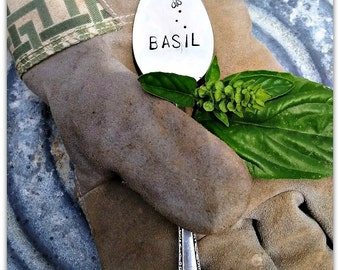 Plant Marker, Basil Spoon Marker, Buzzing Bee, Vintage Silverware, Garden Marker, Herb Marker, Spoon Marker, Herb Garden, Hand Stamped, USA