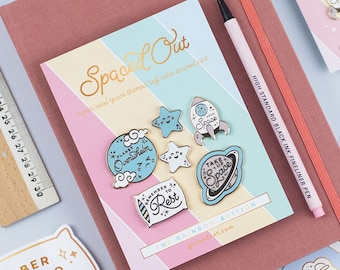 Pastel Space Enamel Pin Set, 6 Pin Set, Space Self Care Pins, Planets Moon Stars Rocket Pins, Mental Health, Instant Pin Collection