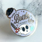 Don't Bottle Things Up Enamel Pin - Mental Health Pins - Cute Skull Hard Enamel Pin