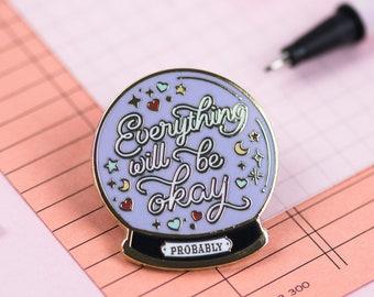 Crystal Ball Enamel Pin - Halloween - Magical Pins - Self Care Anxiety Gift