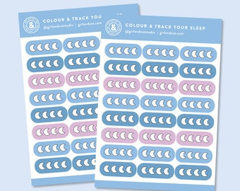 Sleep Tracker Stickers, Self Care Planner Stickers, Colour and Track Health Sticker Sheets