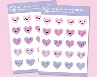 Not So Happy Heart Planner Stickers, Mood Feelings Tracker, Cute Kawaii Pastel Sticker Sheet