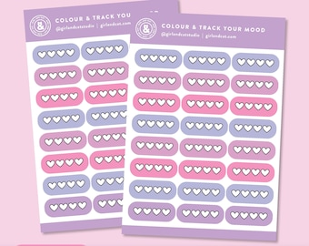 Colour and Track Your Mood Stickers, Mood Tracker Planner Stickers, Mental Health Sticker Sheets