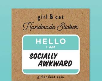 Socially Awkward Laptop Stickers, Anxiety Journal Stickers, Best Friend Gift, Introvert Sticker, Sister Gift, Self Care, Bullet Journal