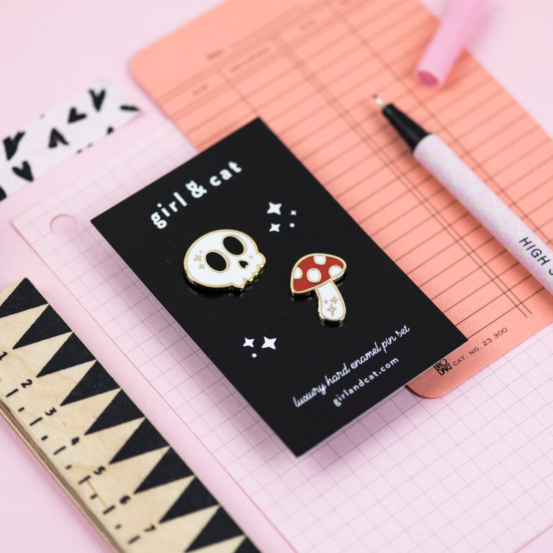Skull and Toadstool Enamel Pin Set  Mini Pins  Creepy Cute image 0