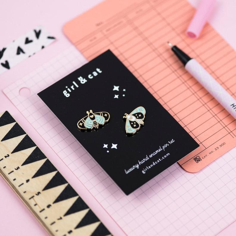 Moth Enamel Pin Set  Cute Tiny Mini Pins  Collar Lapel Pin image 0