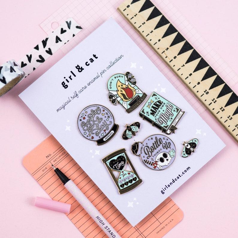 Self Care Enamel Pin Set  Magical Witchy Supplies  Pin Badge image 0