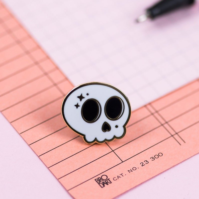 Skull Enamel Pin  Cute lapel brooch  Spooky Magical Witchy image 0
