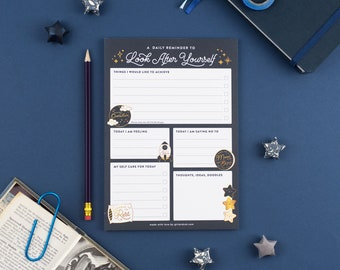 Look After Yourself Planner Pad, Daily Reminder Notepad, Self Care To Do Checklist, Space Themed