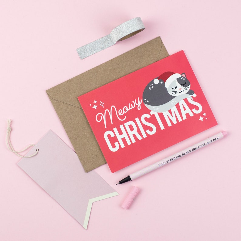 Cat Christmas Card Meowy Christmas Funny Cute Holiday Cards image 0
