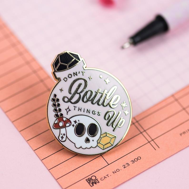 Don't Bottle Things Up Pin  Cute Skull Potion Bottle   image 0
