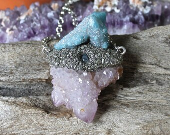 Spirit Quartz Necklace w/ Moonstone - Aqua Aura Fairy Quartz Jewelry - Crystal Necklace - Wiccan Jewelry - Gypsy Jewelry - Festival Fashion
