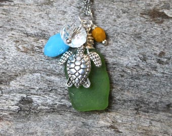Green Turtle Necklace - Honu Jewelry - Sea Turtle Jewelry - Hawaiian Jewelry - Ocean Inspired - Beach Necklace - REAL Seaglass from Hawaii