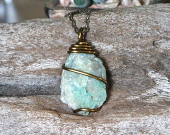 Rough Chrysocolla Necklace, Natural Stone Necklace, Blue Green Stone Jewelry, Bohemian Jewelry, Wiccan Jewelry, Hippie Necklace Boho Chic