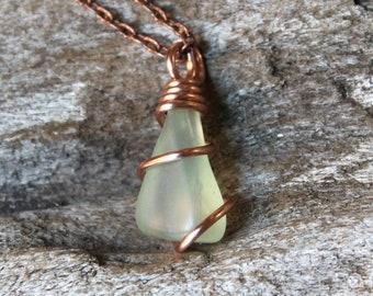 Natural Jade Jewelry - Wire Wrapped Stone Necklace - Green Jade Necklace - Green Stone Jewelry - Bohemian Necklace - Gypsy Boho Jewelry