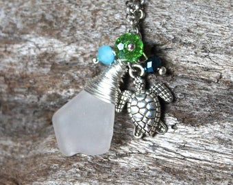 Sea Turtle Necklace w/ Seaglass from Hawaii