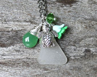 Sea Turtle Necklace w/ Hawaii Seaglass - Sea Glass Jewelry - Hawaiian Jewelry - Honu Necklace - Ocean Inspired - Tropical Flower Necklace