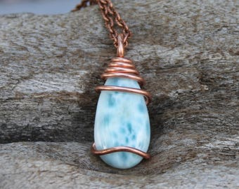 Natural Larimar Necklace, Blue Gemstone Jewelry, Wire Wrapped Stone Pendant, Bridal Jewelry, Copper Pendant, Larimar Jewelry, Gypsy Necklace
