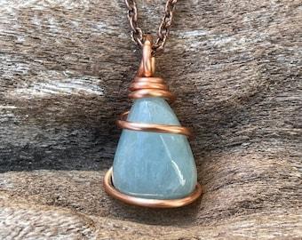 Aquamarine Necklace in Copper