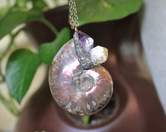 Fossilized Ammonite Necklace - Shell Fossil Jewelry - Ammonite Jewelry - Fossilized Shell Necklace - Crushed Pyrite Necklace - Boho Jewelry
