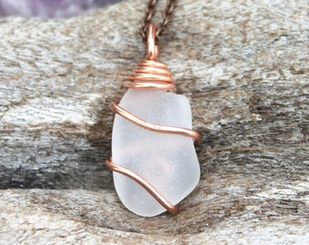 Sea Glass Necklace made in Hawaii - Ocean Inspired Sea Glass Jewelry from Hawaii - Beach Glass Necklace - Seaglass Jewelry Mermaid Necklace
