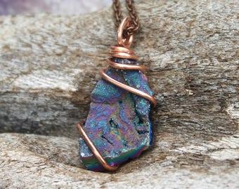 Rainbow Crystal Necklace - Hippie Bohemian Jewelry - Crystal Point Wire Wrap Pendant - Rainbow Druzy Jewelry - Boho Necklace Druzy Necklace