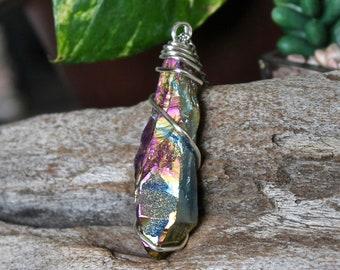 """2.5"""" Aura Quartz Necklace, Blue Rainbow Crystal Necklace, Pink Aura Quartz Crystal Jewelry, Wiccan Necklace, Boho Jewelry, Bohemian Jewelry"""