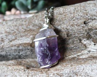 Rough Amethyst Necklace - Raw Stone Jewelry - Wire Wrapped Stone Necklace - Natural Amethyst Jewelry - Boho Gypsy Necklace Bohemian Jewelry
