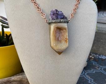 XL Crystal Necklace w/ Agate, Amethyst & Handmade Chain
