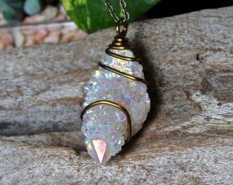 Angel Aura Spirit Quartz Necklace - Angel Aura Quartz Jewelry - Raw Stone Jewelry - Quartz Crystal Necklace - Boho Jewelry - Quartz Necklace