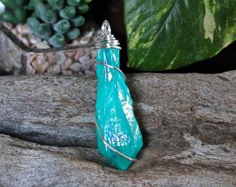 Raw Stone Jewelry - Titanium Aura Quartz Necklace - Blue Quartz Crystal Point Necklace - Gypsy Jewelry - Bohemian Necklace - Boho Jewelry