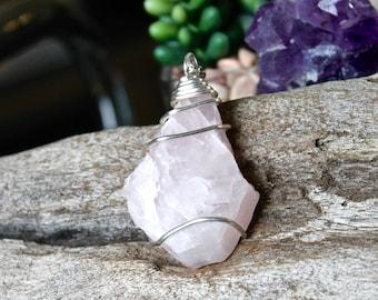 Rose Quartz Necklace - Healing Stone Necklace - Wiccan Jewelry - Quartz Crystal Necklace - Boho Chic - Pink Stone Jewelry - Hippie Jewelry