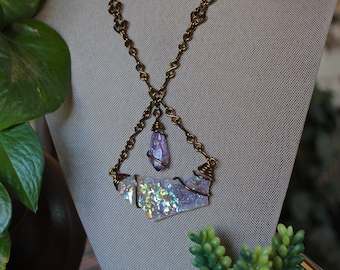 Amethyst & Angel Aura Quartz Necklace with our SIGNATURE HANDMADE Chain, Opal Aura Crystal Jewelry, Hippie Festival Fashion, Statement Piece