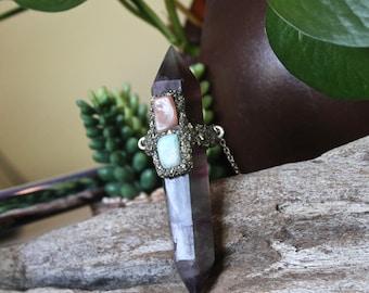 SALE // LARGE Fluorite Necklace w/ Peach Moonstone & Amazonite, Wiccan Jewelry, Purple Crystal Jewelry, Festival Fashion, Pagan Jewelry