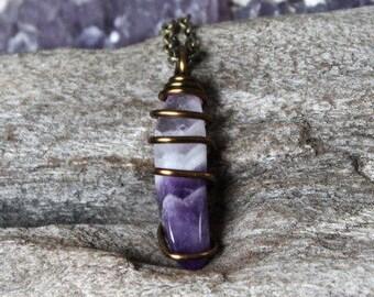 Chevron Amethyst Necklace, Hippie Wedding Jewelry, Boho Chic Bridesmaid Gift for Her, Bohemian Festival Fashion, Gemstone Pendant, Raw Style