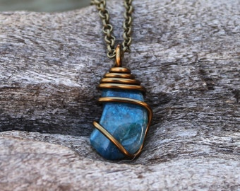 Chrysocolla Necklace - Blue Stone Pendant - Wiccan Jewelry - Healing Stone Necklace - Bohemian Jewelry - Boho Chic Jewelry - Gypsy Necklace