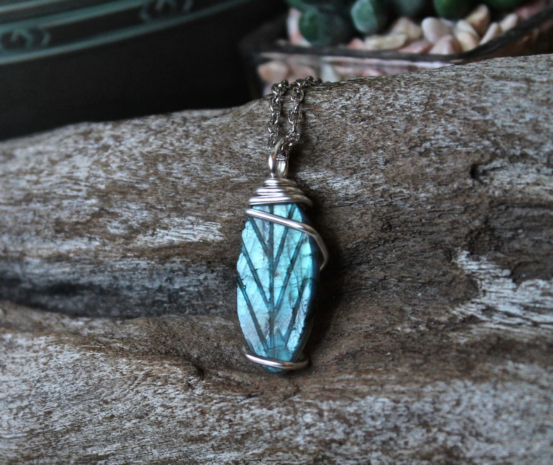 Carved Labradorite Necklace Bohemian Jewelry Wiccan Jewelry image 0